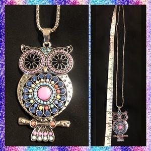 Long Boho Jeweled Owl Necklace